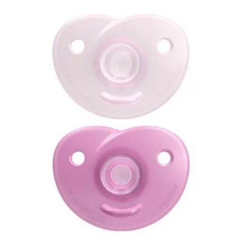 Kit 2 Chupetas Soothie 100% Silicone 0m+ Rosa - Avent
